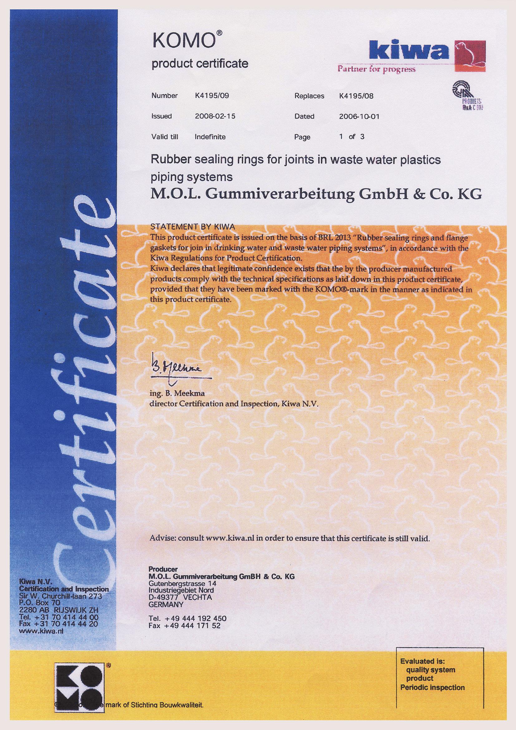 Sealing Ring Certificate